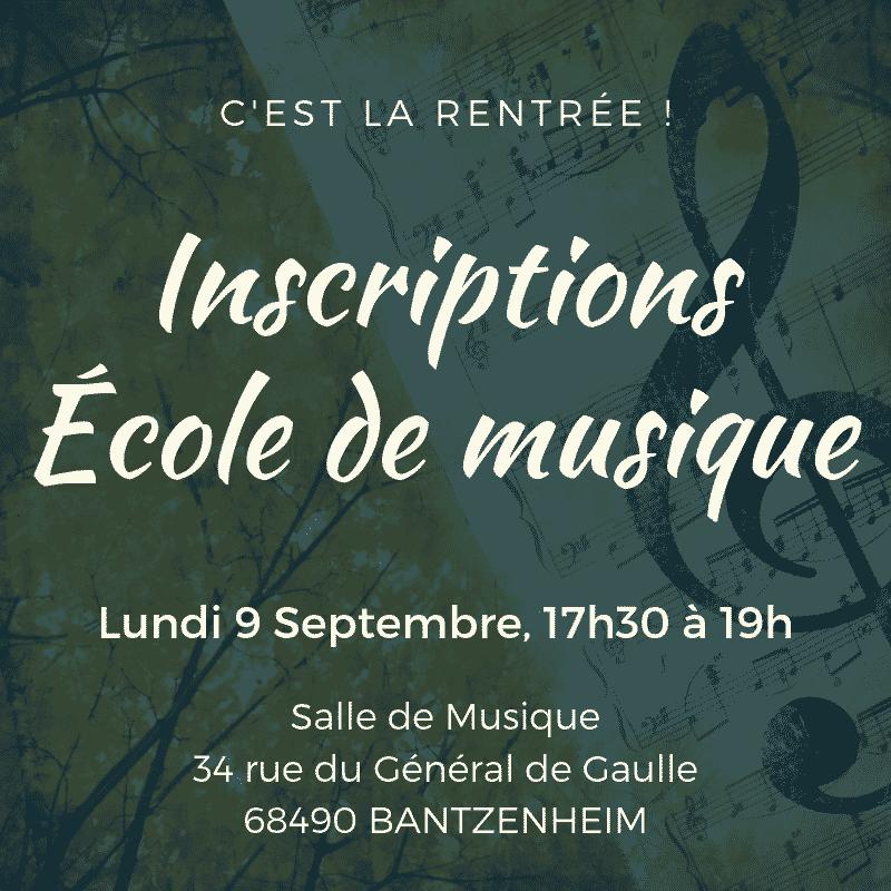 Inscriptions École de Musique 2019